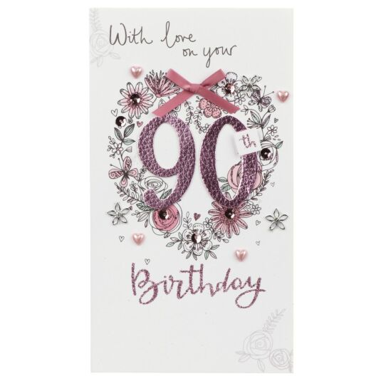 Pink Flowers 90th Birthday Card
