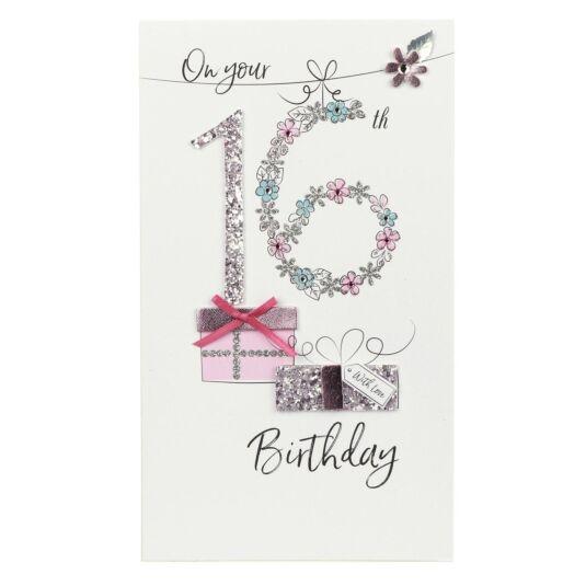Glitter Gift 16th Birthday Card
