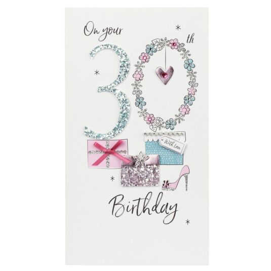 Glitter & Floral 30th Birthday Card