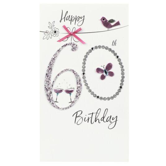 Pink Bird 60th Birthday Card
