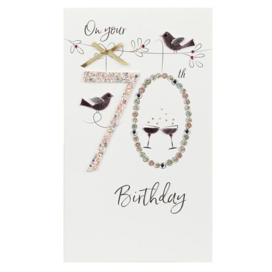 Pink Birds 70th Birthday Card