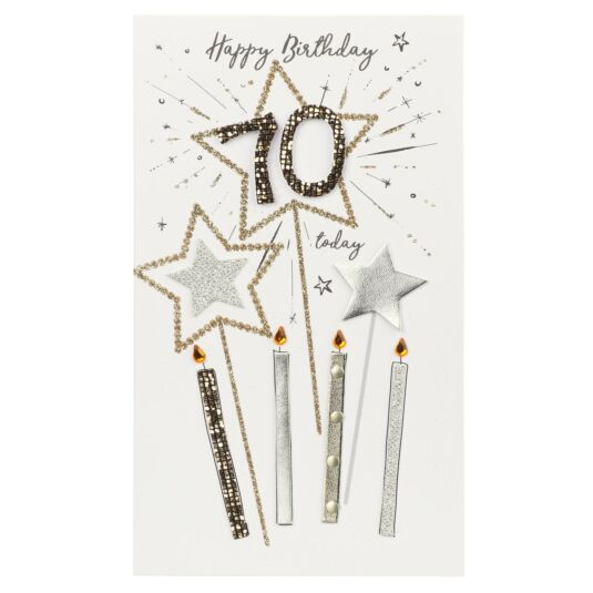 Candles & Stars 70th Birthday Card