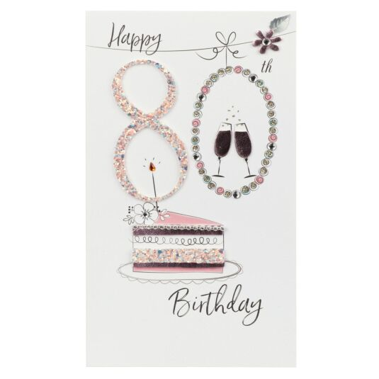 Pink Cake 80th Birthday Card