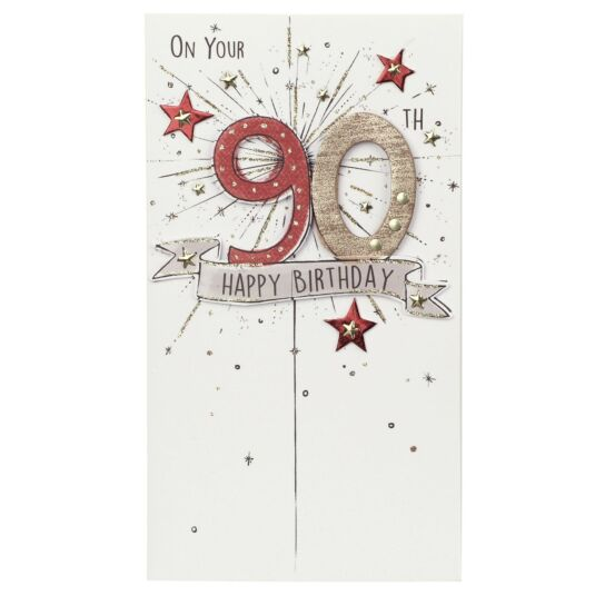 Exploding Stars 90th Birthday Card