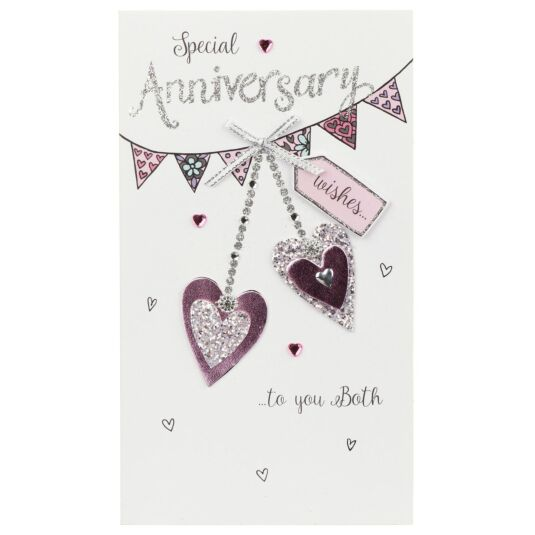 'Special Anniversary' Hearts and Bunting Card