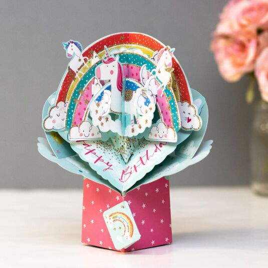 Rainbow & Unicorns 3D Pop Up Birthday Card