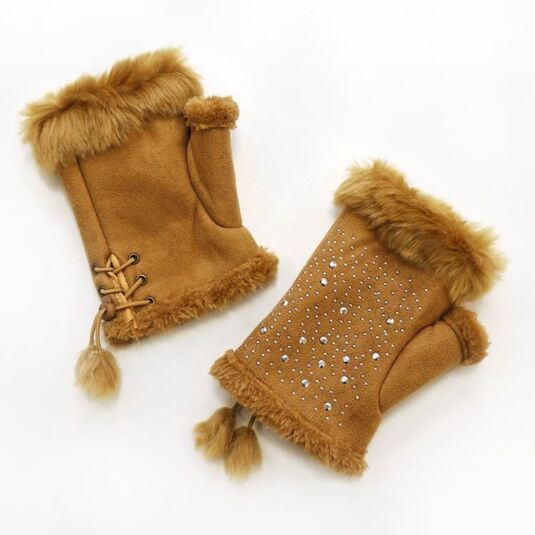 Tan Fingerless Gloves with Silver Gems