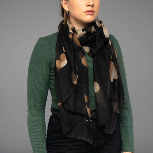 Black Dancing Hearts Scarf