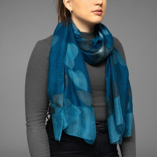 Blue Dancing Hearts Scarf