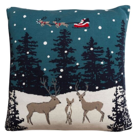 Home for Christmas Knitted Statement Cushion