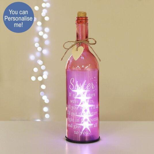 'Sister' Pink Light Up LED Bottle