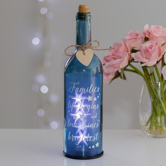Families Are Where Life Begins Blue Light Up LED Bottle