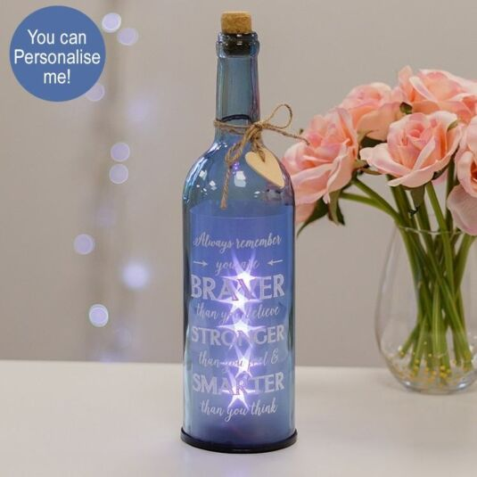 Remember you are Braver Blue Light Up LED Bottle