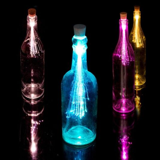 Rechargeable Multicolour Fibre Optic Bottle Light