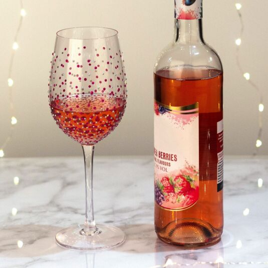 Sunny By Sue 'Pink Dots' Wine Glass