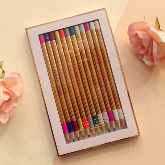 Set Of 12 Porcelain Rose Colouring Pencils