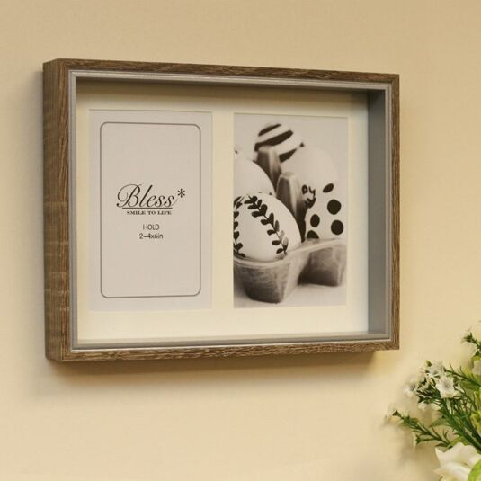 Wood & Silver Box Double Photo Frame 6x4