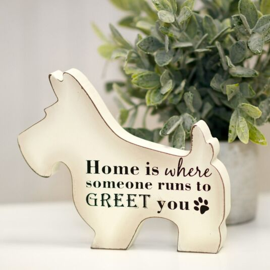 'Home' Wooden Dog Sign