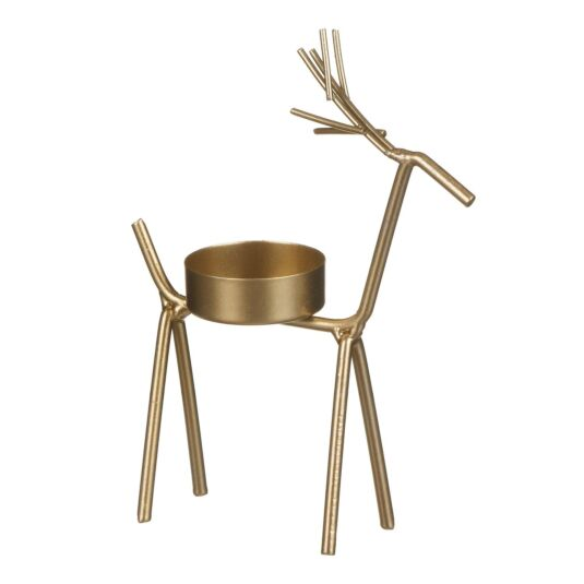 Small Golden Reindeer Tealight Candle Holder