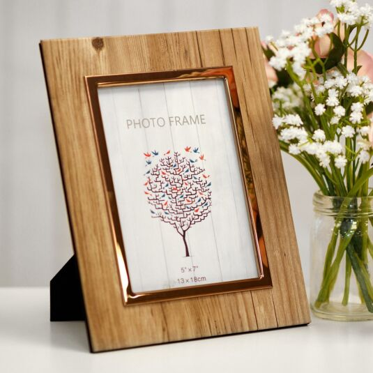 Woodgrain & Rose Gold Photo Frame 7x5