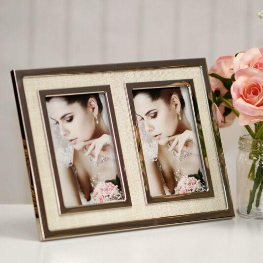 Silver & Cream Canvas Double Photo Frame 6x4