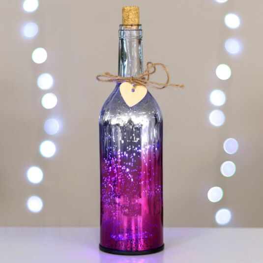 Pink & Silver LED Firefly Bottle