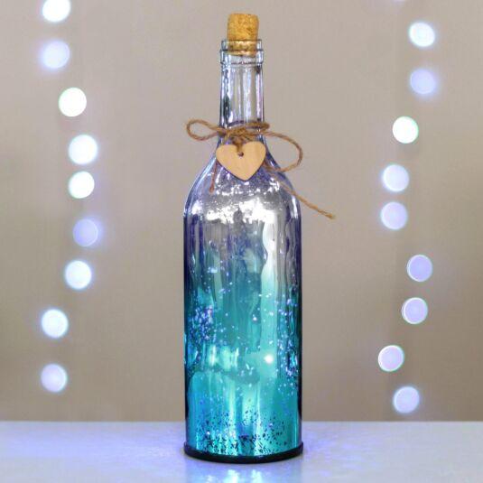 Teal & Silver LED Firefly Bottle