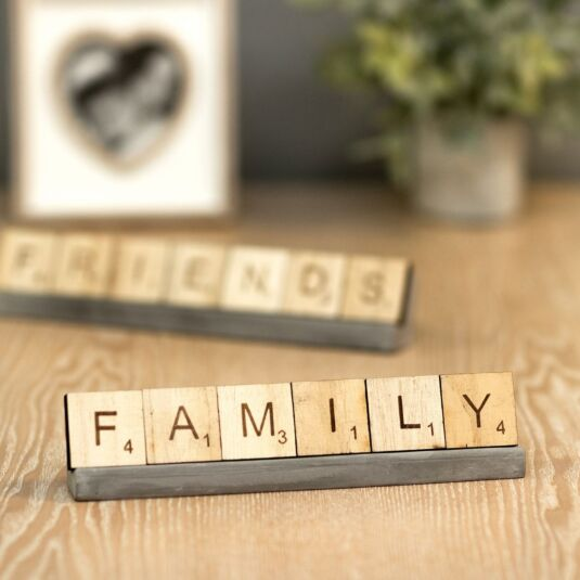 'Family' Scrabble Tiles & Stand