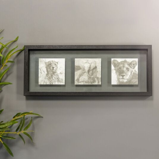 Monochrome Black Frame with Trio of Safari Animals