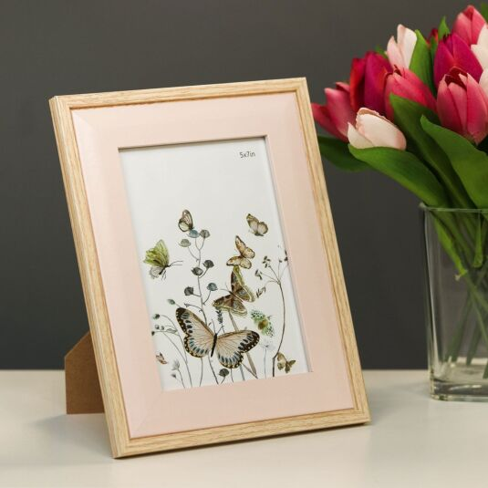 Light Wood & Pink Bevelled 5x7 Frame