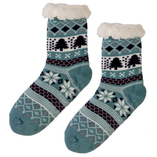 Turquoise Sherpa Lined Socks