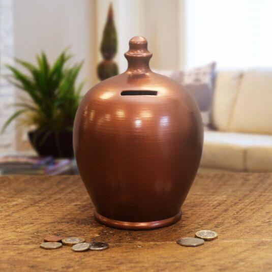 Brown Bronzed Money Pot
