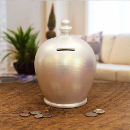 Pearlescent White Money Pot