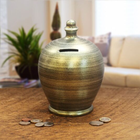 Moss Green Swirl Money Pot