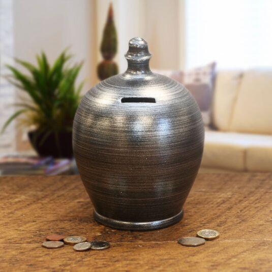 Blue Silver Swirl Money Pot