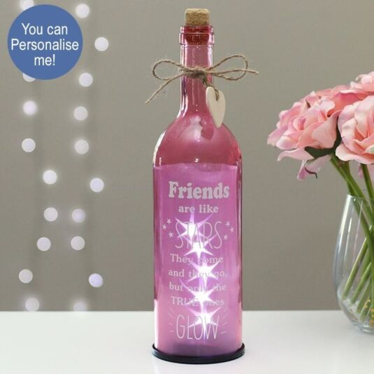 'Friends Are Like Stars' Pink Light Up LED Bottle
