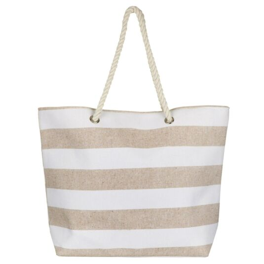 Cream Stripe Beach Bag
