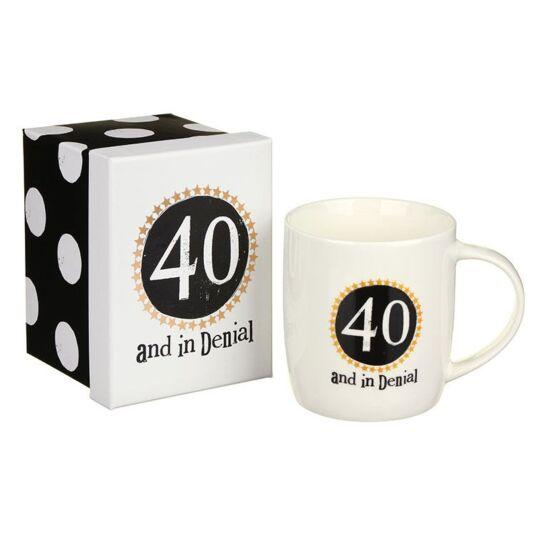 """""""40 in denial"""" Boxed Mug"""