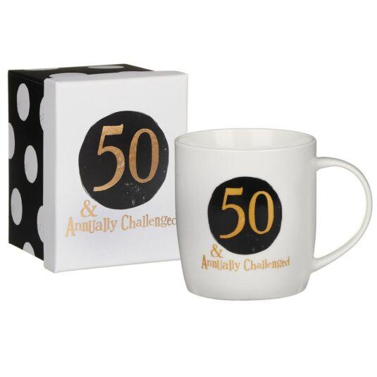 '50 & Annually Challenged' Boxed Mug
