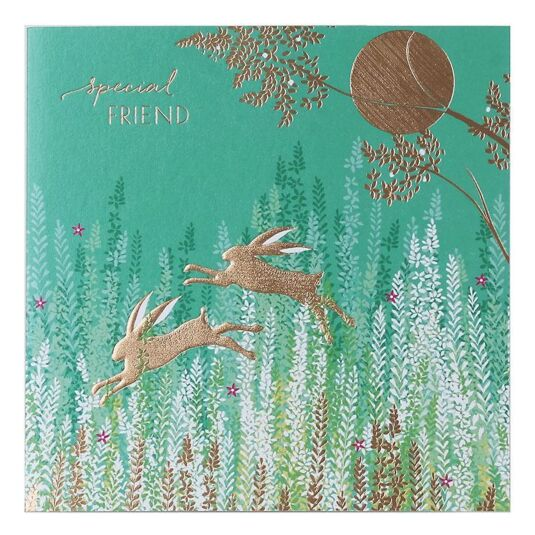 Leaping Rabbits Special Friend Card