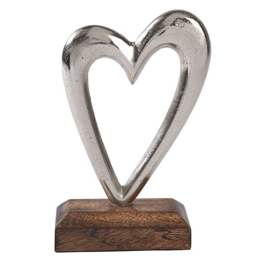 Silver Metal Heart on Wooden Base Decoration