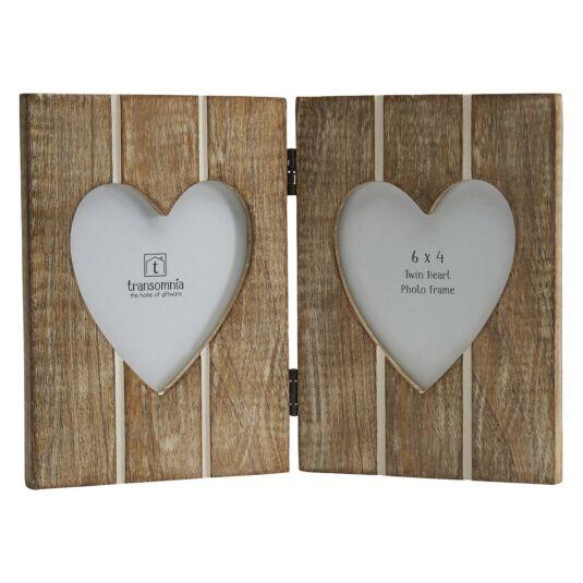 Transomnia Twin Folding Hearts 6x4 Photo Frame