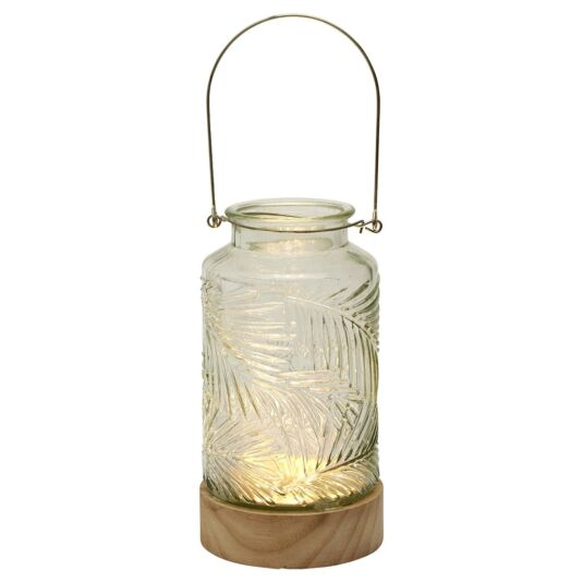 Clear LED Vase with Wooden Base