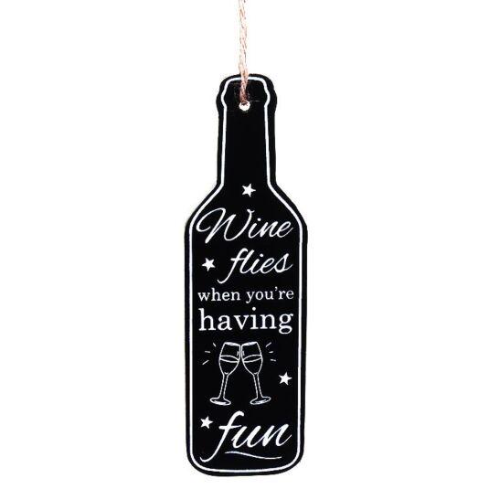 'Wine Flies' Mini Hanging Wine Bottle Sign