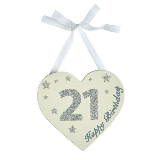 Birthday Glitter Heart Age 21