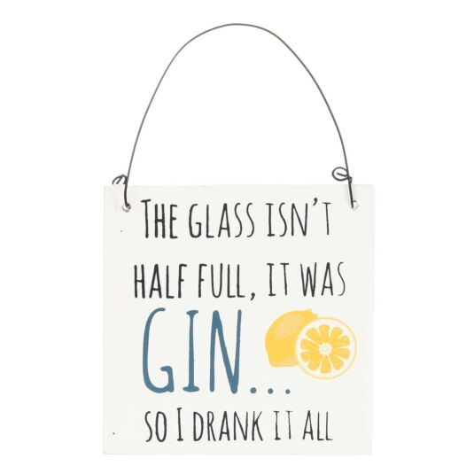 'Half Full' Mini Gin Sign