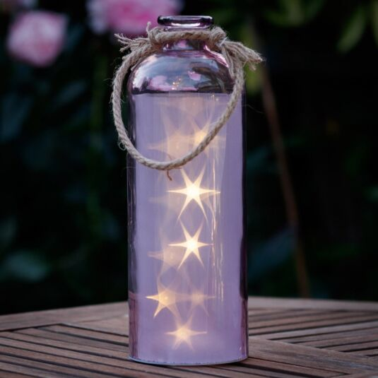 Giant LED Stars in a Purple Bottle