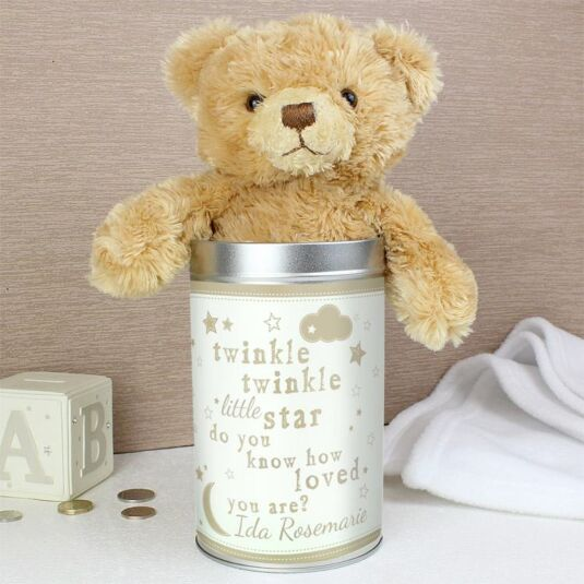 Personalised Twinkle Twinkle Teddy In A Tin