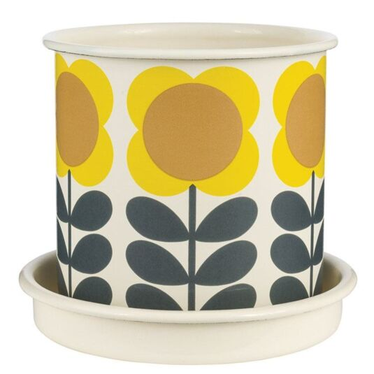 Big Spot Yellow Flower Boxed Medium Enamel Planter with Saucer