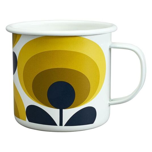 Oval Flower Dandelion Yellow Enamel Mug